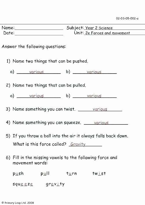 Force and Motion Worksheet Answers New Motion Worksheets for Kindergarten force and forces Pdf