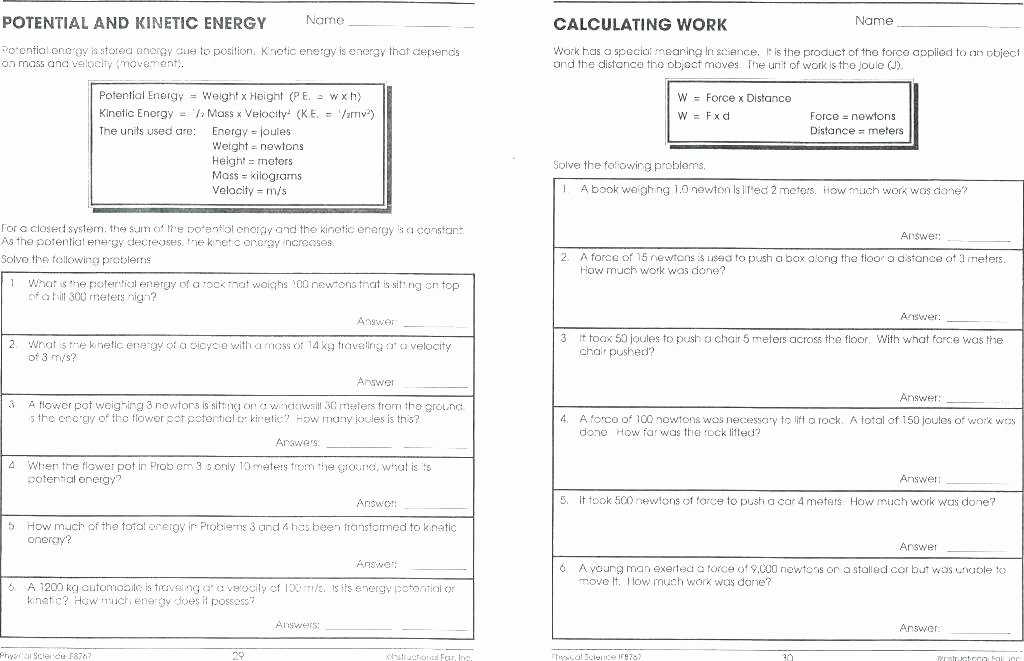 Force Motion and Energy Worksheets Motion Worksheet 1 Grade with Answers forces Free Printable