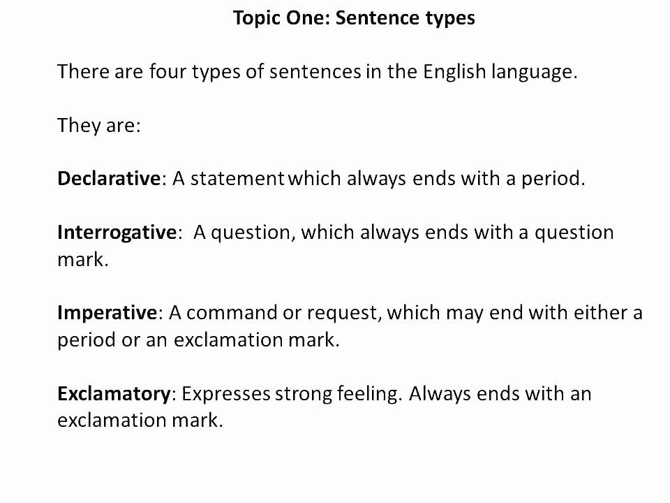 Four Kinds Of Sentences Worksheets Exclamatory Sentence Worksheets First Grade