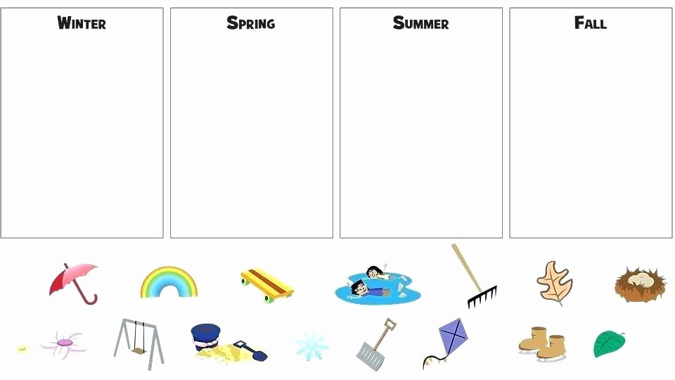 Four Seasons Kindergarten Worksheets Science Worksheets for Kindergarten Printable