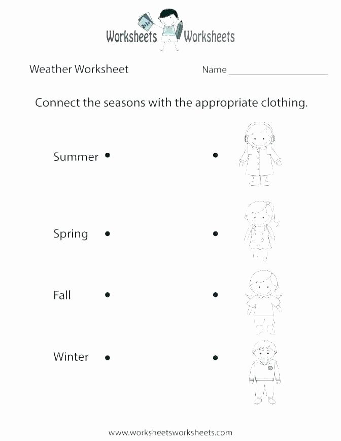 Four Seasons Kindergarten Worksheets Winter Weather Worksheets