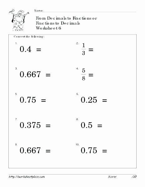 Fraction Puzzle Worksheets Grade Decimals Worksheets Math with Converting Fractions and