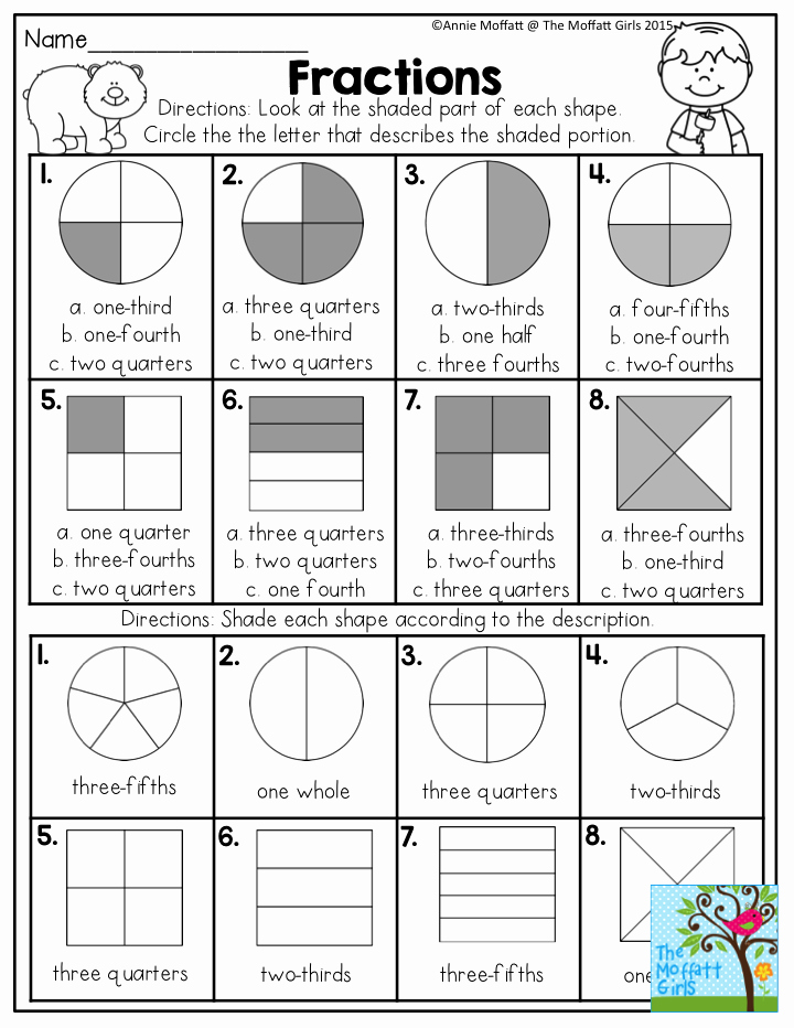 Fraction Worksheets First Grade Pin On Math