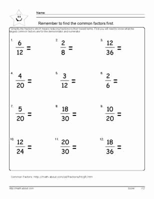 Fractions Worksheets Grade 4 Pdf 9 Worksheets On Simplifying Fractions for 6th Graders