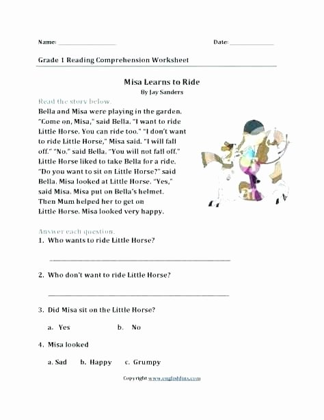 Free 1st Grade Comprehension Worksheets First Grade Reading Prehension E Printable Free Line
