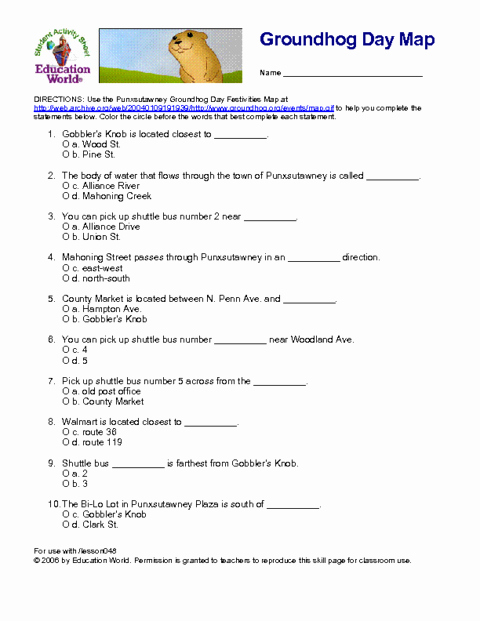Free 2nd Grade Comprehension Worksheets Using the Site Given Fill In the Groundhog Day May