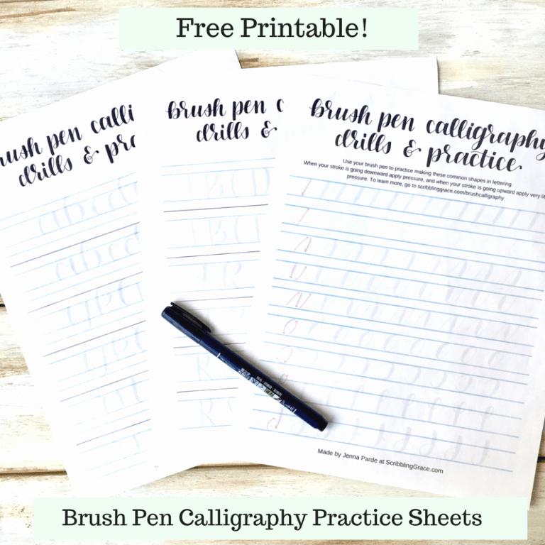 Free Calligraphy Worksheets Printable Brush Pen Calligraphy for Beginners Free Printable Practice