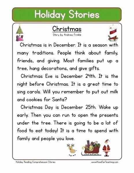 Free Christmas Reading Comprehension Worksheets Free Prehension Worksheets School Reading Reading