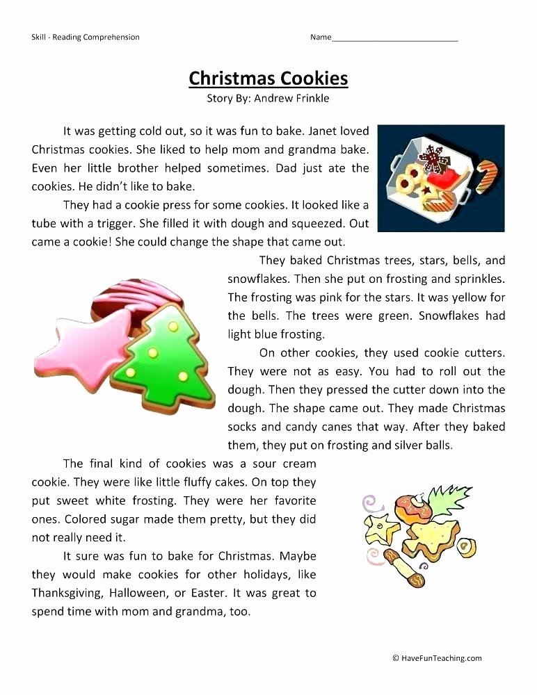 Free Christmas Reading Comprehension Worksheets Literacy Worksheets Worksheets Grade Reading Free for