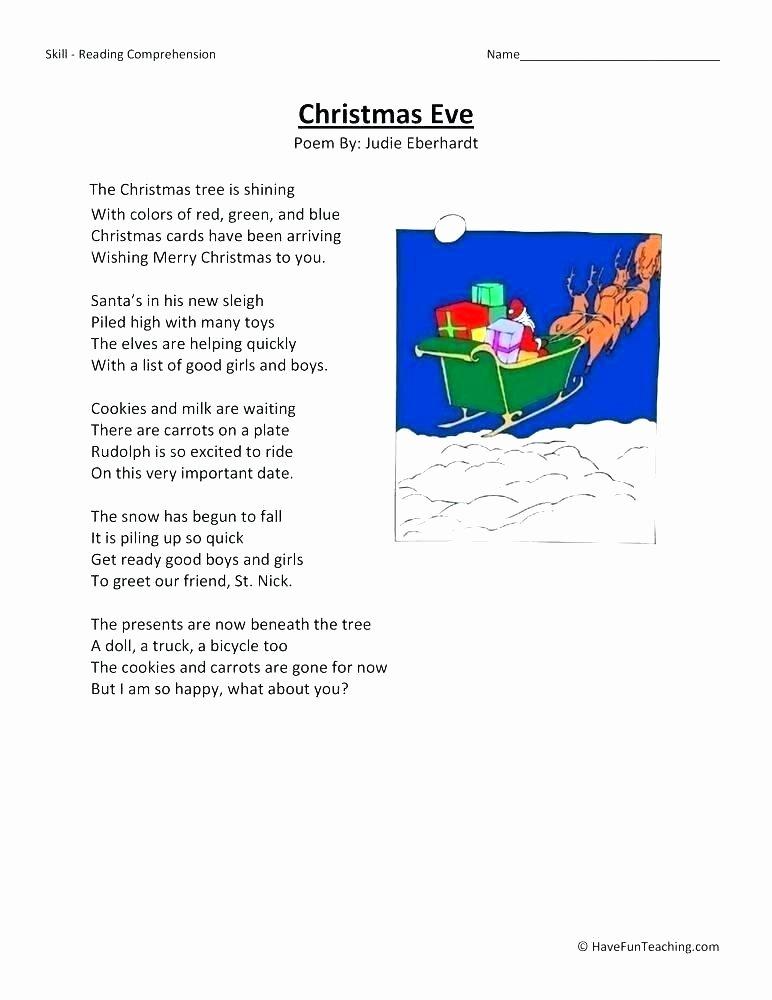 Free Christmas Reading Comprehension Worksheets Reading Prehension Worksheets Eve Second Grade Poetry