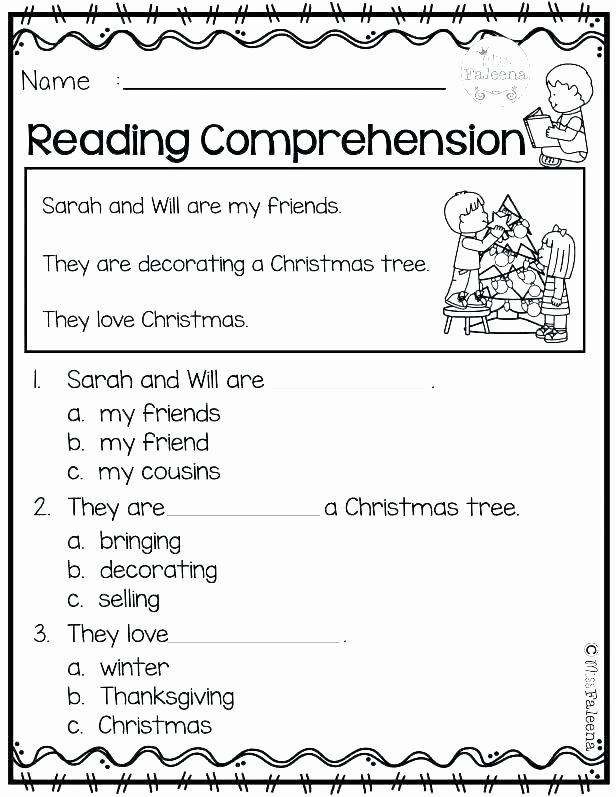 Free Christmas Reading Comprehension Worksheets Worksheet Reading Prehension Free Worksheets for Free