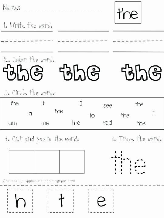 Free Color Word Worksheets Unique Sight Word We Worksheets for Kindergarten