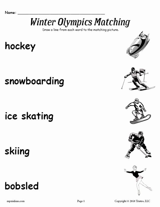 Free Contraction Worksheets Free Printable Winter Olympics Matching Worksheet