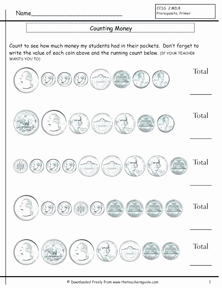 Free Counting Coins Worksheets Awesome Free Coin Worksheets Money Counting Unit Materials Pennies