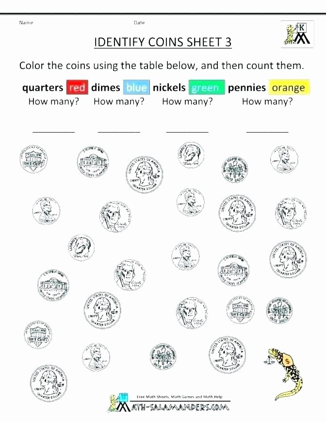 Free Counting Coins Worksheets Unique 1st Grade Coin Worksheets