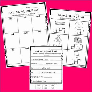 Free Cut and Paste Worksheets Elegant Ad Ed Id Od & Ud Worksheets Cut and Paste sorts Cloze Read & Draw Etc