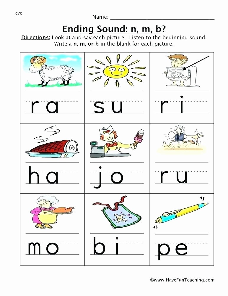 Free Ending sounds Worksheets Beginning Ending sounds Worksheet A and Short Ed Ending