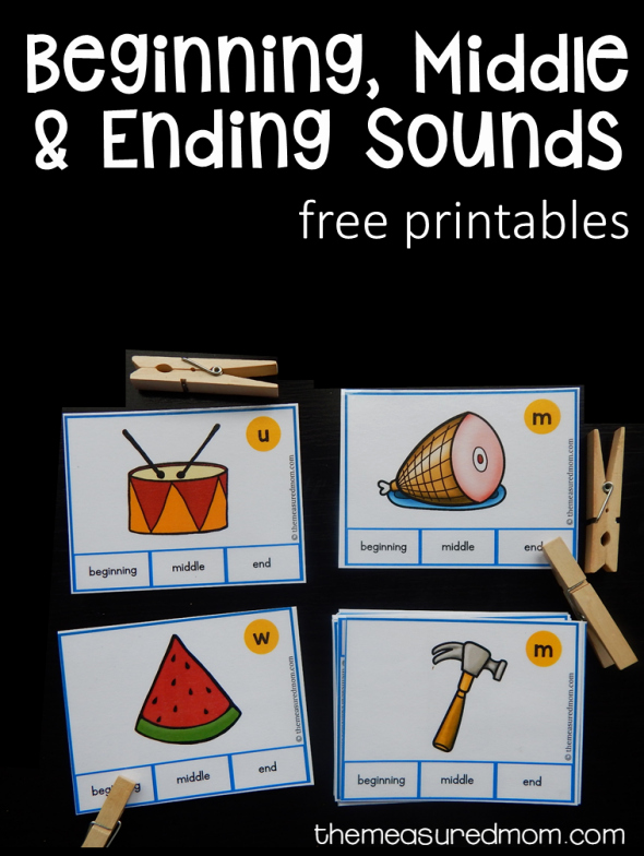 Free Ending sounds Worksheets Free Beginning Middle and Ending sound Clip Cards the