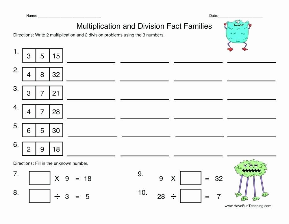 Free Fact Family Worksheet Free Printable Fun Multiplication Worksheets Grade 3