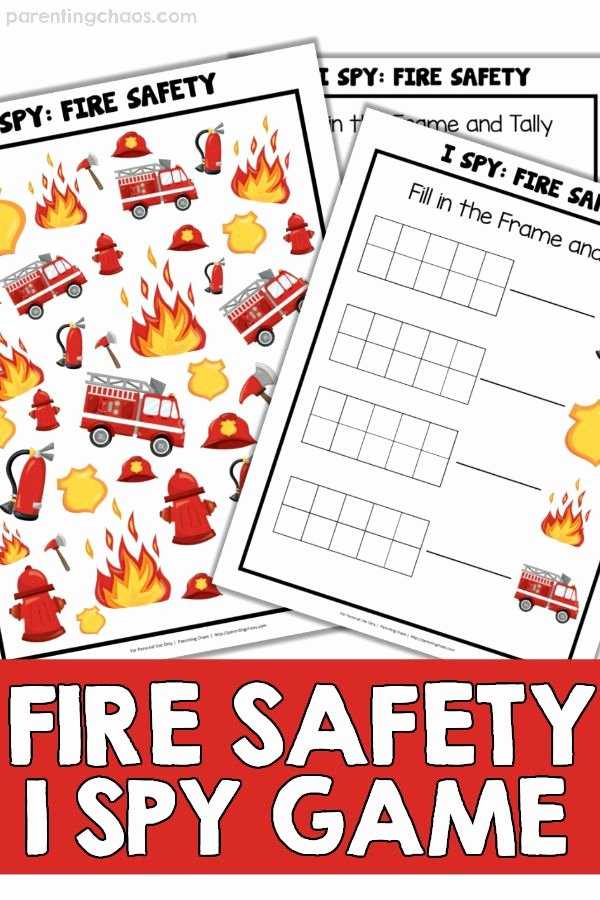 Free Fire Safety Worksheets Printable Fire Safety I Spy Games for Kids Education