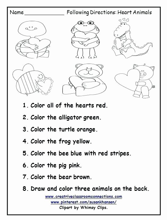 Free Following Directions Worksheets Listening Skills Worksheets for Kindergarten