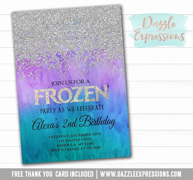 Free Frozen Invitations Printable Printable Silver Glitter Frozen Birthday Party Invitation