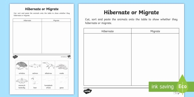 Free Hibernation Worksheets Animals that Hibernate or Migrate Worksheet Worksheet