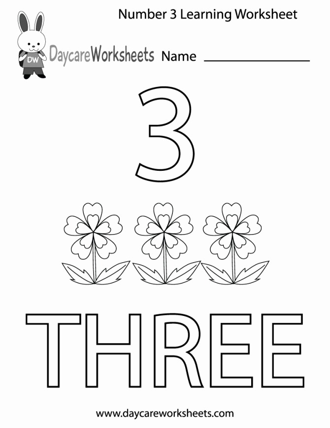 Free Hibernation Worksheets Free Printable Number Three Learning Worksheet for Preschool