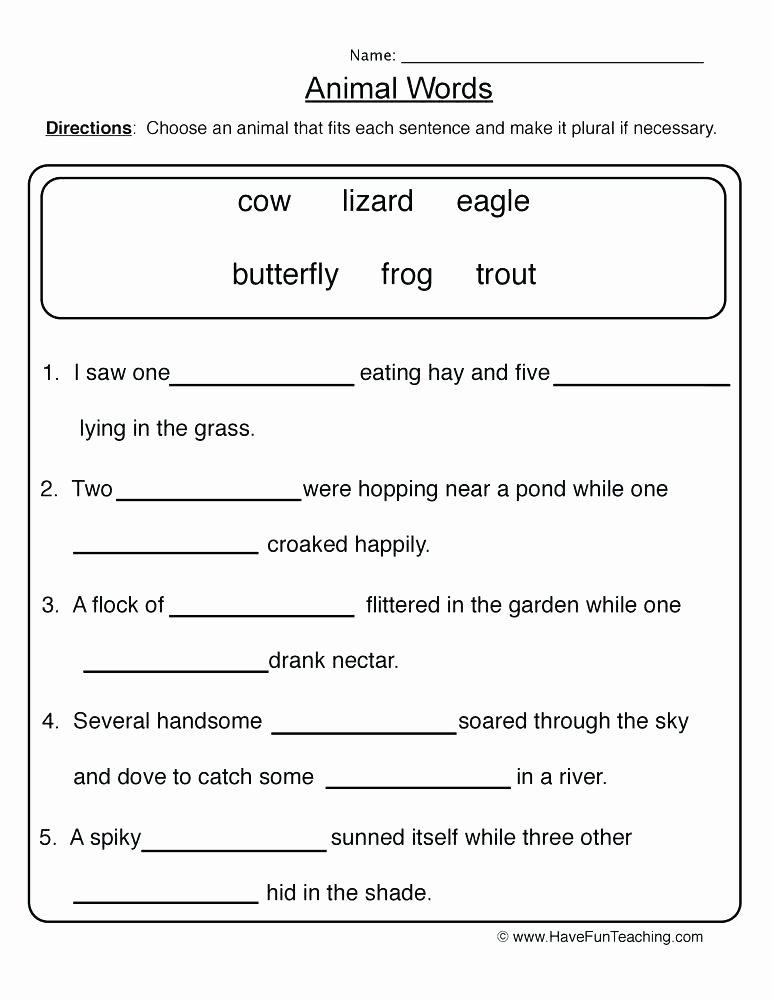 Free Irregular Plural Nouns Worksheet Singular Possessive Nouns Worksheets 4th Grade