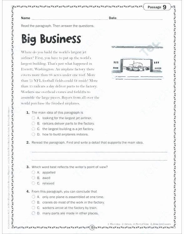 Free Paragraph Writing Worksheets Main Idea A Paragraph Worksheets Free Pdf for Kindergarten