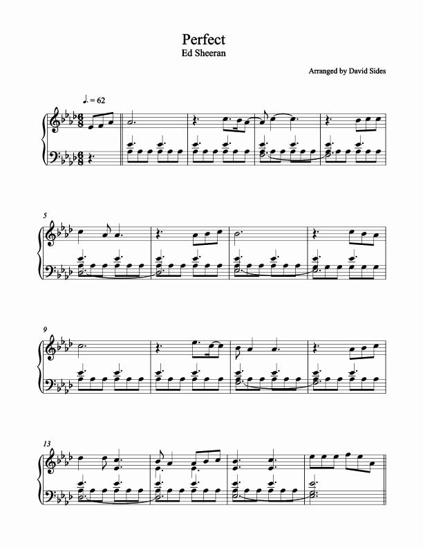 Free Piano Worksheets Perfect Ed Sheeran Piano Sheet Music