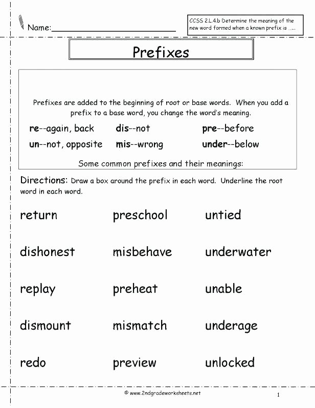 Free Prefix and Suffix Worksheet Base Words Worksheets