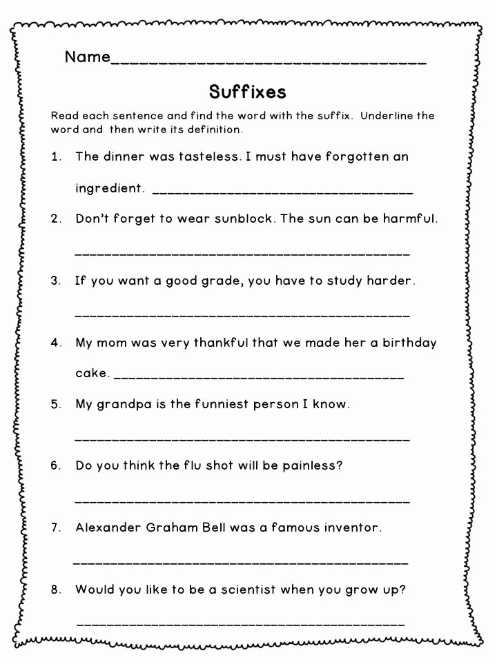 Free Prefix and Suffix Worksheet Prefix and Suffix Worksheets 3rd Grade for to Printable A Free