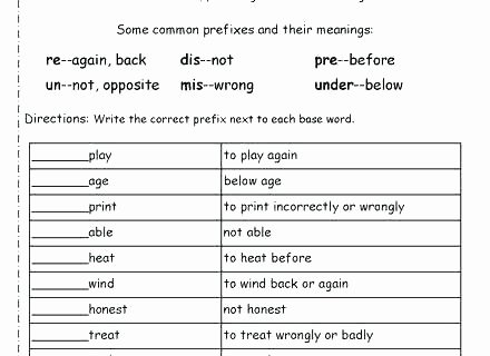 Free Prefix and Suffix Worksheet Prefix Re Worksheets Fourth Grade Suffix Negative Prefixes