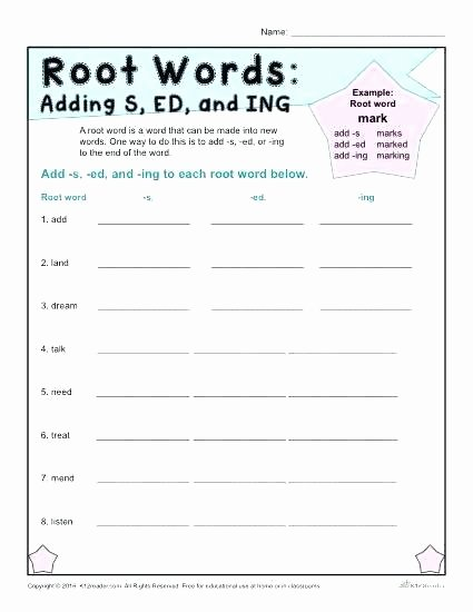 Free Prefix and Suffix Worksheet Prefixes Worksheets and Suffixes Grade Second Activity Root