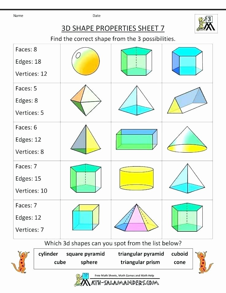 Free Printable 3d Shapes Worksheets 2d Geometry Worksheets