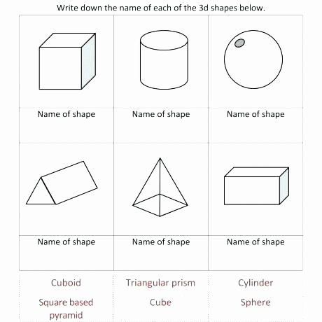 Free Printable 3d Shapes Worksheets Worksheets for Shapes for Kindergarten