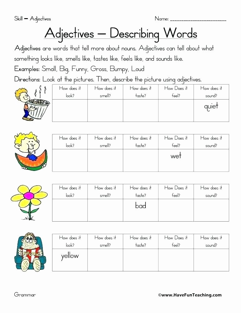 Free Printable Adjective Worksheets Adjectives Worksheets