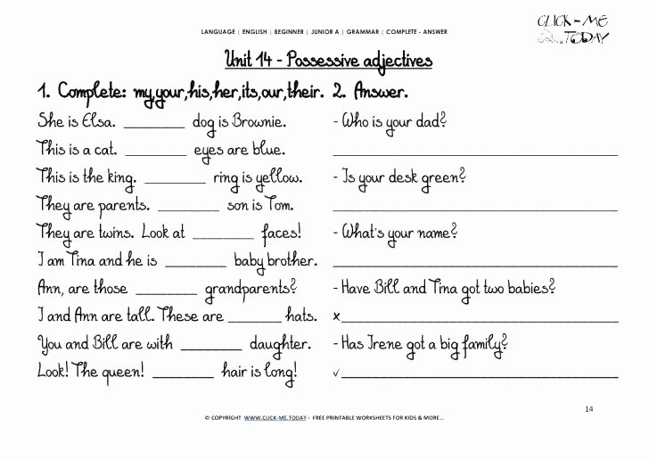 Free Printable Adjective Worksheets Free Printable Grammar Worksheets for Grade 7 Gorgeous
