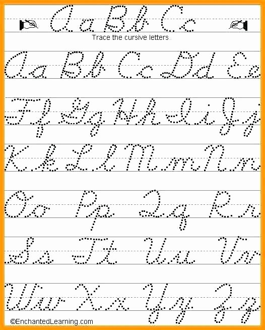 Free Printable Cursive Alphabet Chart Cursive Alphabet Traceable Worksheets