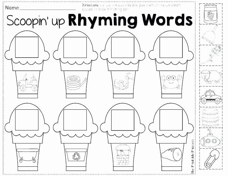 Free Printable Cutting Worksheets Free Rhyming Worksheets for Kindergarten
