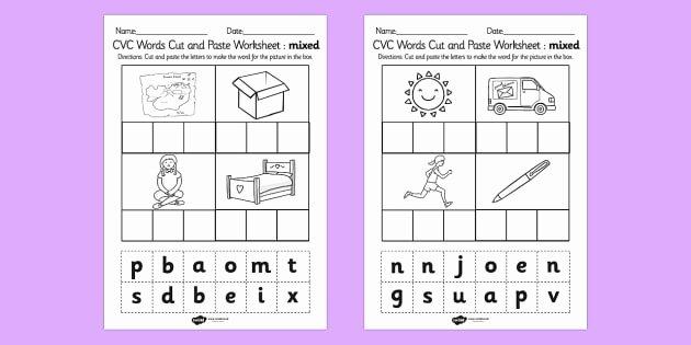 Free Printable Cvc Worksheets Cvc Words Cut and Paste Worksheet Worksheets Mixed Cvc