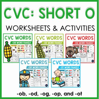 Free Printable Cvc Worksheets Cvc Worksheets and Activities Short O Word Work