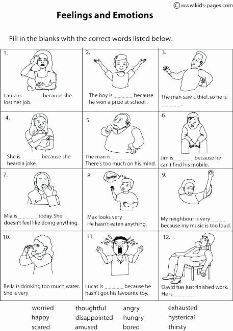 Free Printable Feelings Worksheets Emotions Worksheets for Kids