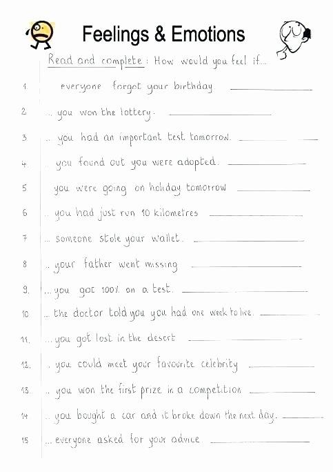 Free Printable Feelings Worksheets Feelings Worksheets for Kids Free Printable the Best