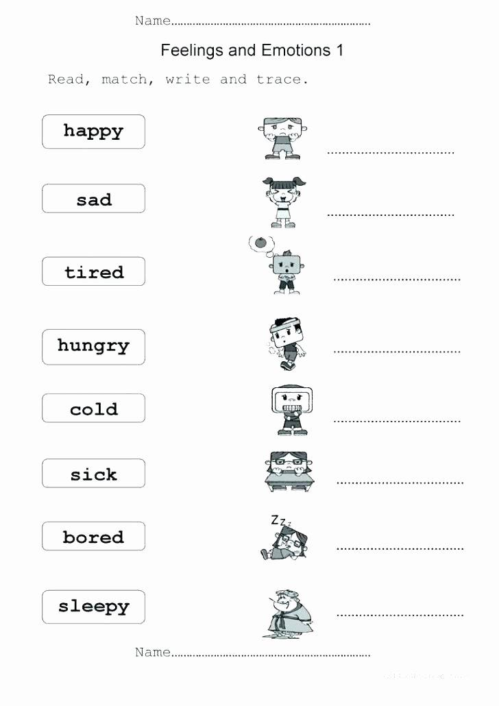 Free Printable Feelings Worksheets Free Feelings and Emotions Worksheets for Kindergarten