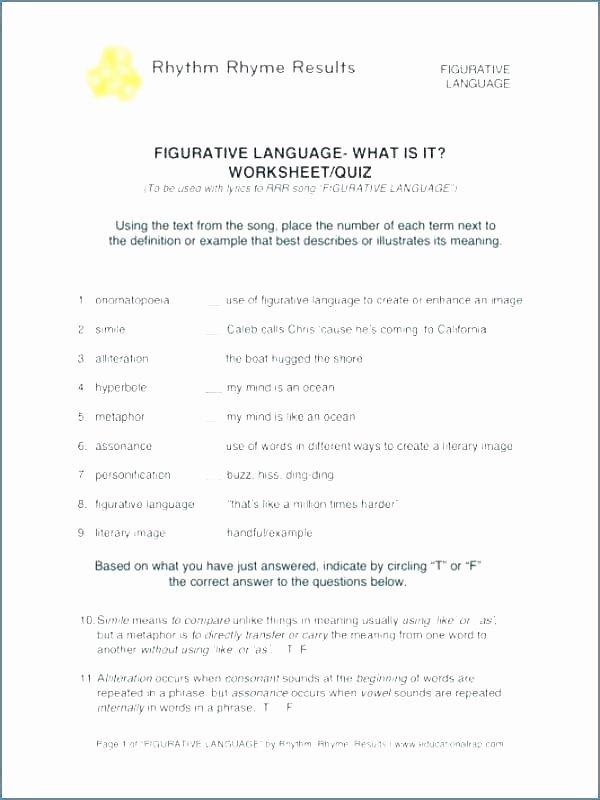 Free Printable Figurative Language Worksheets Figurative Language Worksheets with Answers