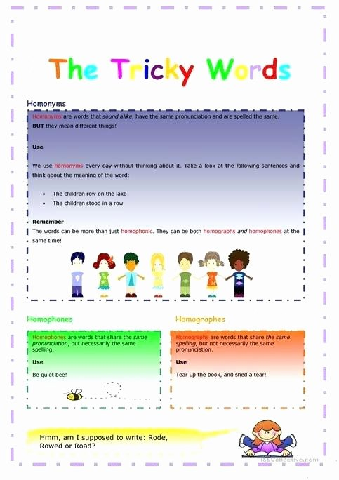 Free Printable Homophone Worksheets Free Homograph Worksheets