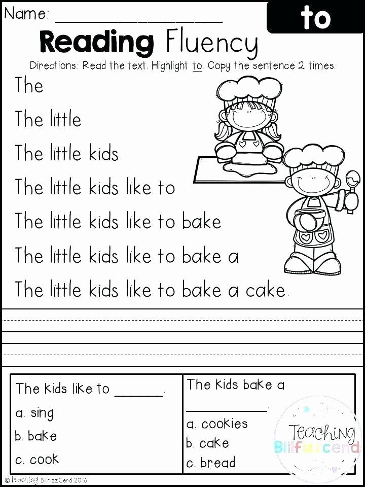 Free Printable Kindergarten Fluency Passages Grade Reading Prehension Worksheets Passages with