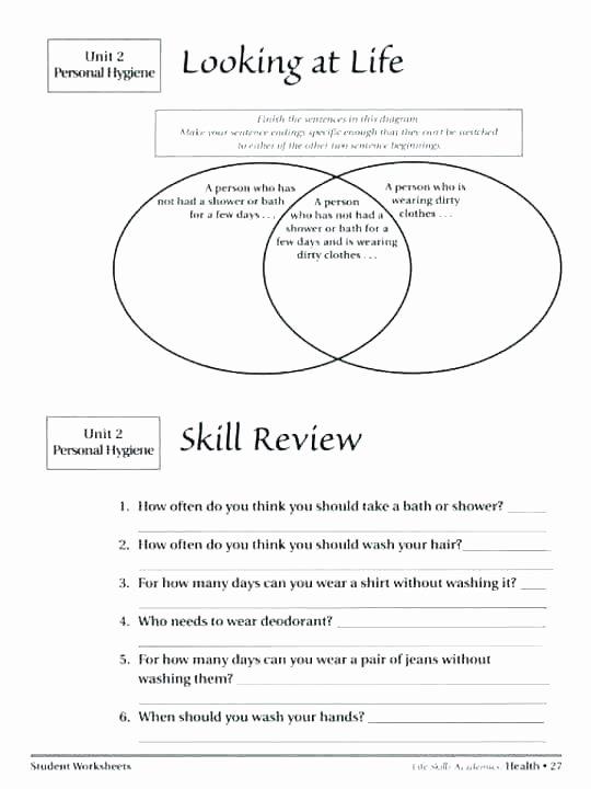 Free Printable Life Skills Worksheets 4th Grade Health Printable Worksheets